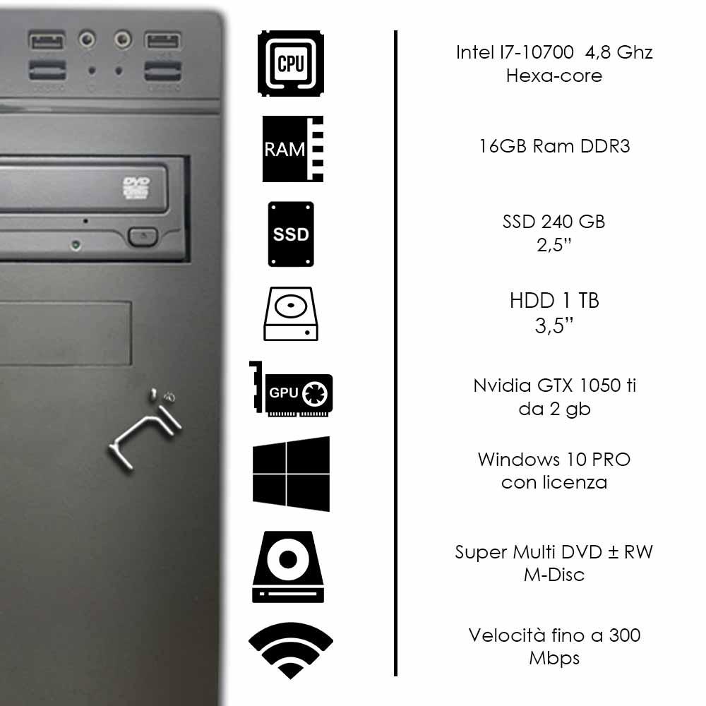 Pc gaming desktop intel I7 10700 ram 16GB hdd 1tb ssd 240gb nvidia gtx 1050 4gb foto 3