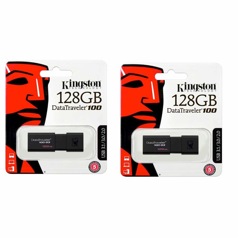 2 chiavette Pendrive Kingston 128 GB Datatraveler 100 G3 USB 3.0 DT100G3-GB-2P foto 2