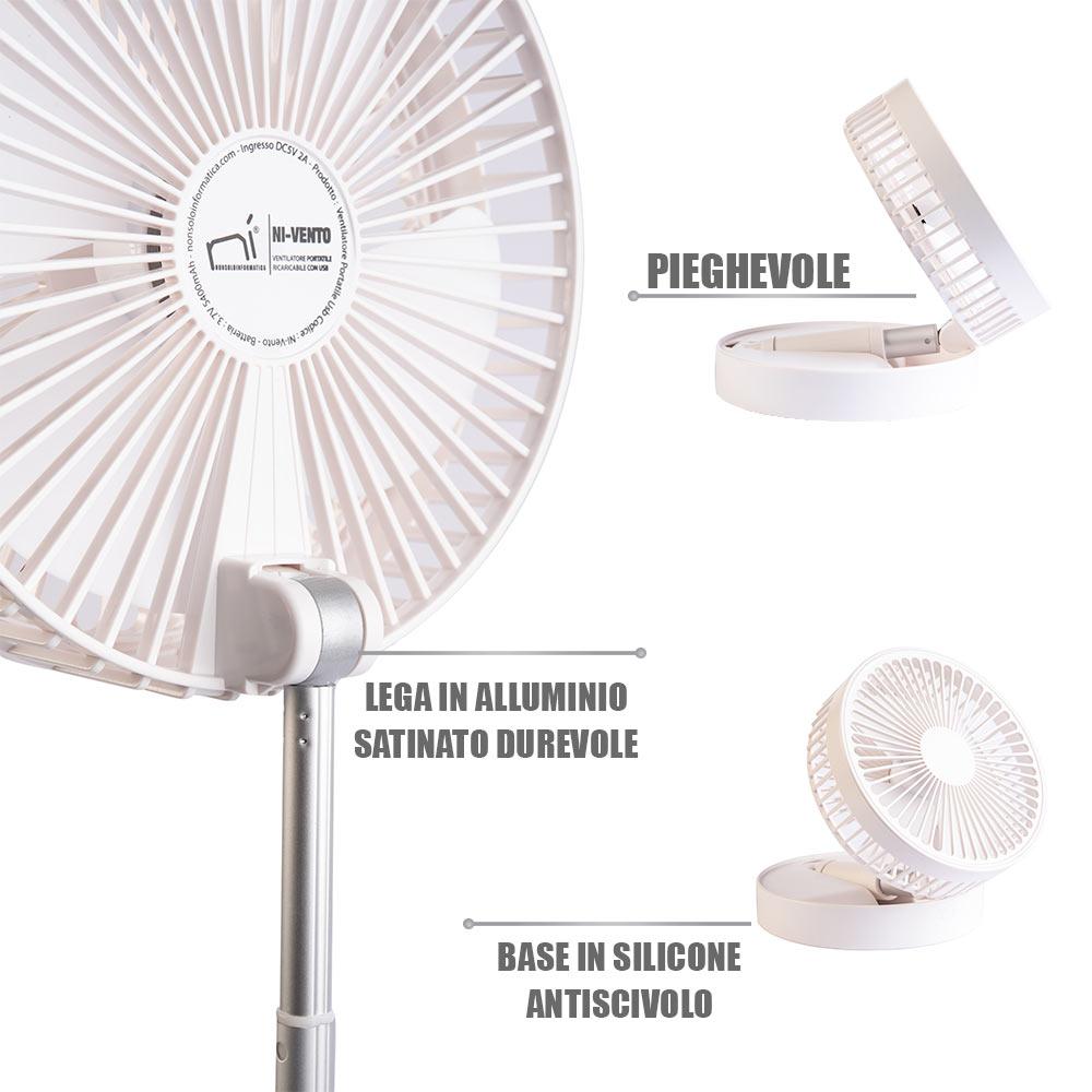Ventilatore portatile a piantana e da tavolo ricaricabile usb allungabile 3 in 1 foto 3