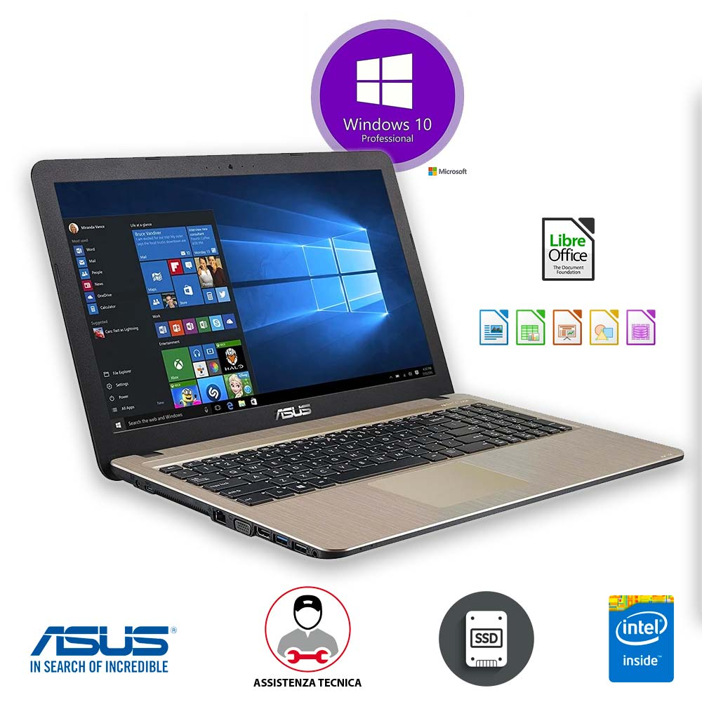 Notebook portatile asus x540m 15,6 4gb ram ssd 256 gb licenza windows 10