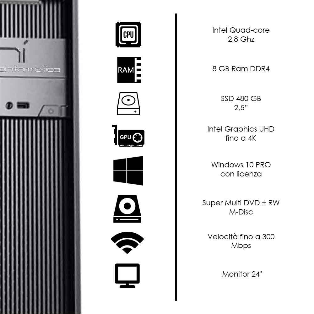 Kit completo pc desktop Windows 10 licenziato Intel quad core 8gb DDR4 ssd 1tb foto 3