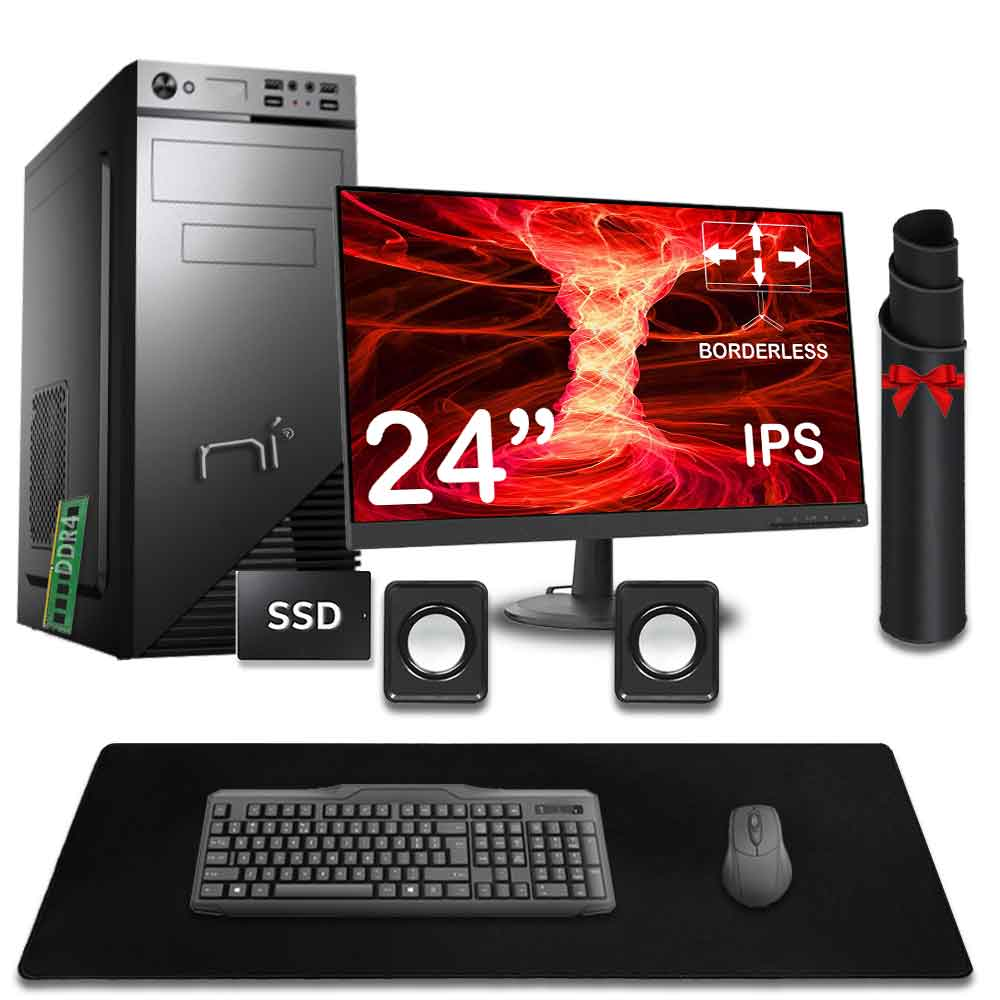 Kit pc fisso intel 8gb ram ssd 240gb monitor mouse tastiera altoparlanti inclusi