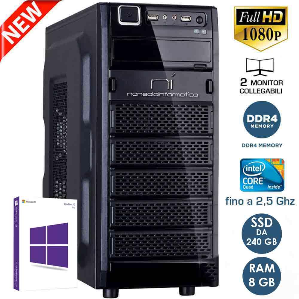 Pc Desktop Windows 10 con licenza Intel quad core 8gb ram ssd 240 gb WiFi HDMI foto 2