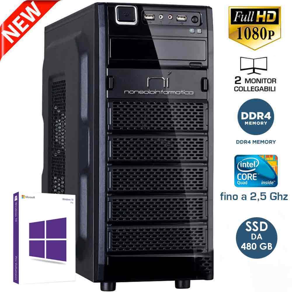 Pc Desktop Intel quad core 16gb ram ssd 480 gb Windows 10 con licenza WiFi HDMI foto 2