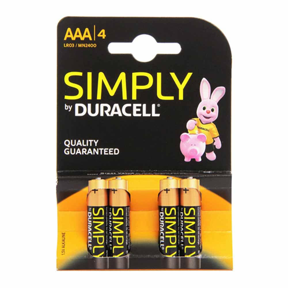 Batterie duracell simply blister 4 ministilo monouso carica a lunga durata lr03