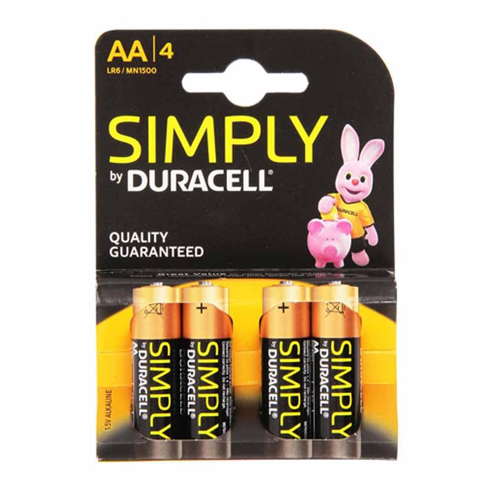 Batterie duracell simply blister 4 stilo monouso con carica a lunga durata lr6.