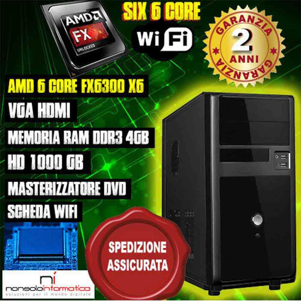 Pc desktop computer amd 6 core fx6300 x6 / hard disk 1000gb (1tb) / memoria ram 4gb ddr3 / wifi assemblato