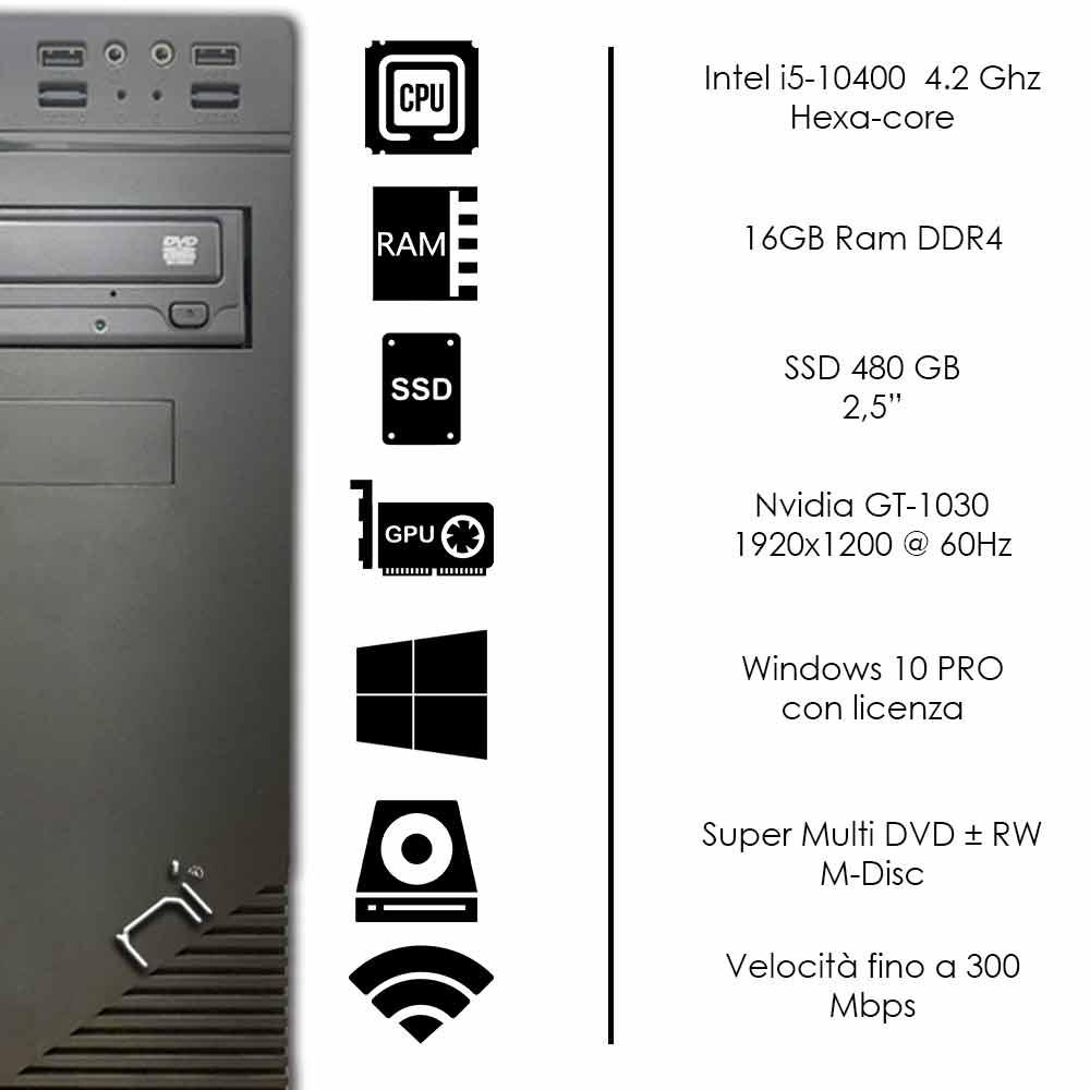 Computer fisso Windows 10 Intel i5-10400 16gb ram ssd 480gb nvidia gt-1030 2gb foto 3