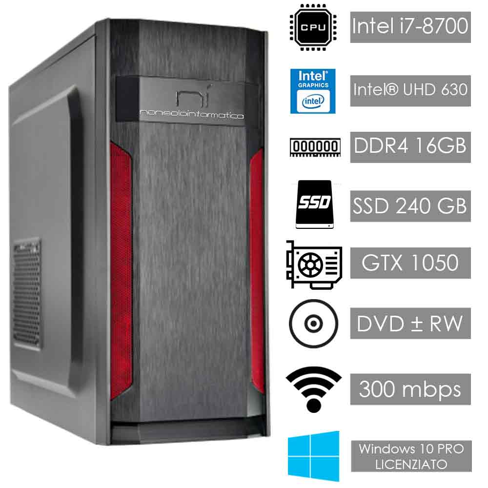 Pc fisso windows 10 con licenza intel i7-8700 16gb ram ssd 240gb nvidia gtx 1050