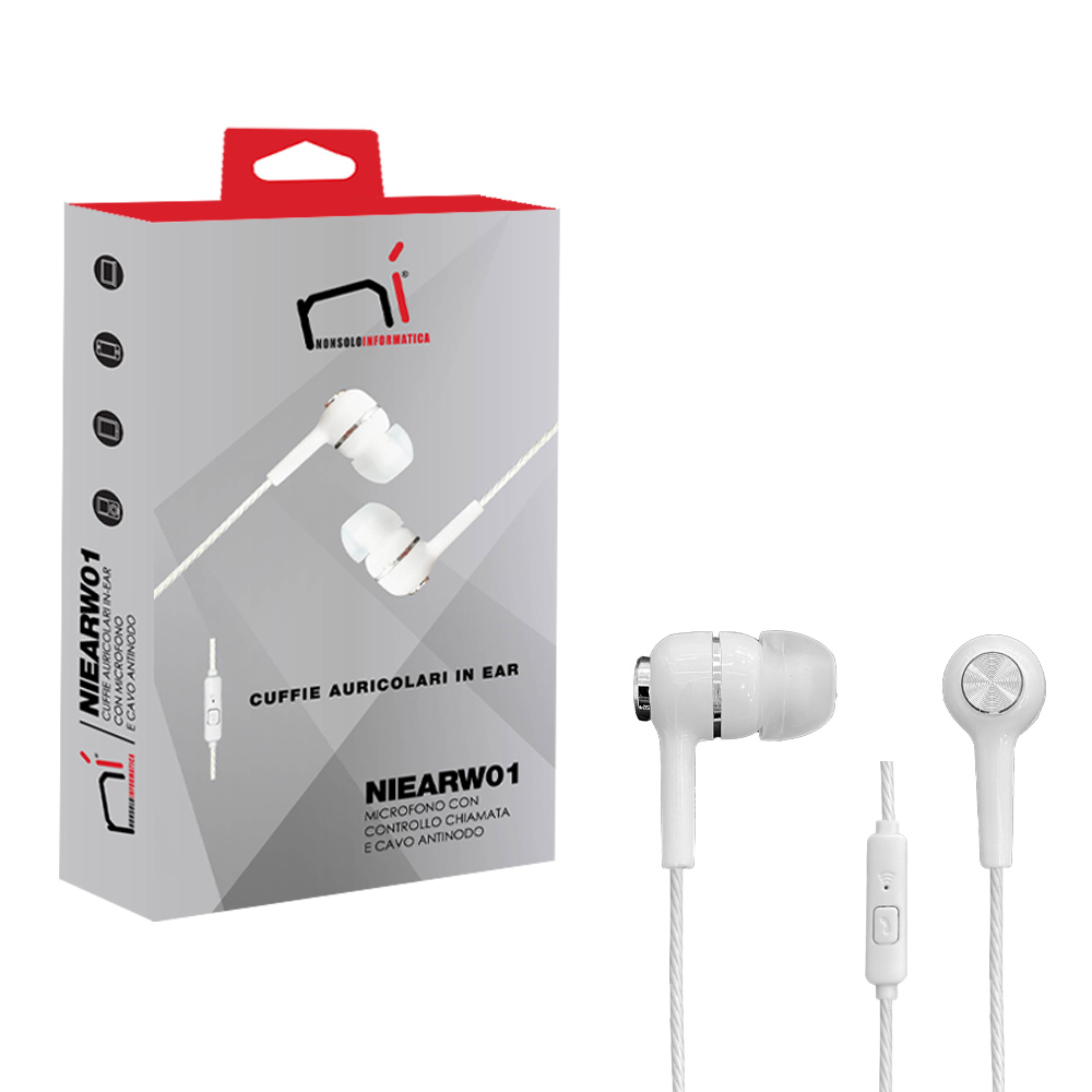 Auricolari con microfono in-ear isolamento rumore pc smartphone tablet bianco