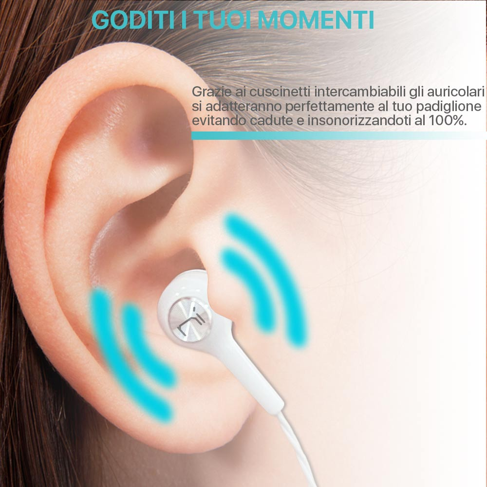 Auricolari In-Ear con microfono isolamento del rumore per pc smartphone tablet foto 5