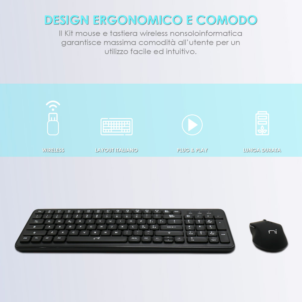 Tastiera mouse wireless senza fili per pc desktop windows mac foto 3