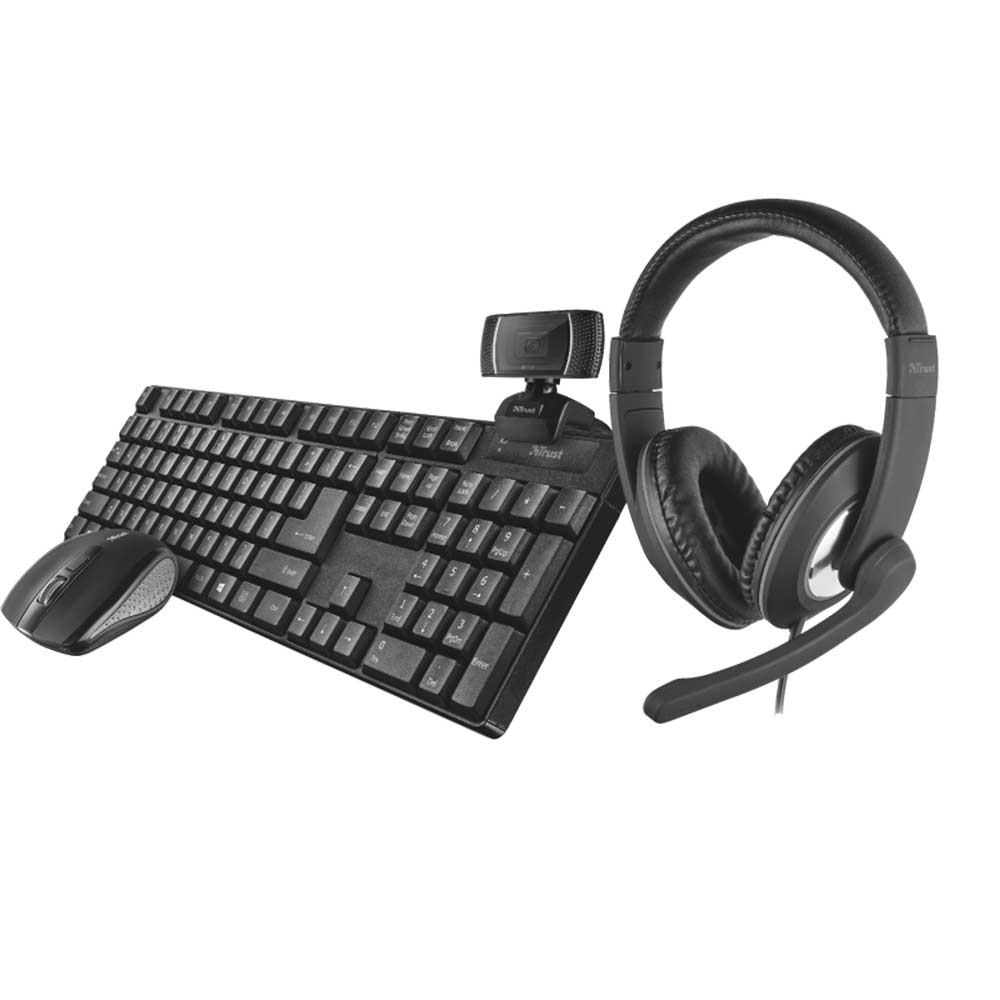Kit completo trust qoby 4-1 con mouse e tastiera wireless, webcam cuffie overear