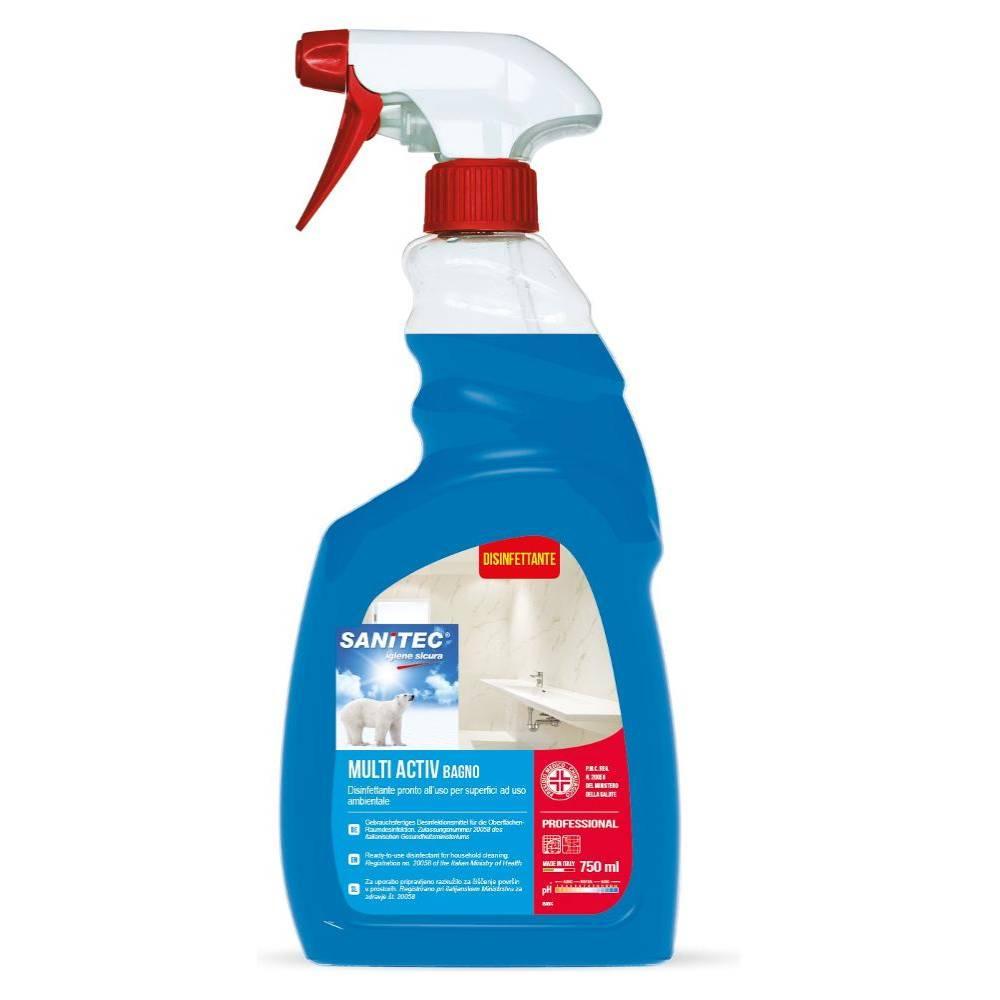 Sanitec detergente disinfettante superfici Multi Activ Bagno 750 ml alcolico foto 2