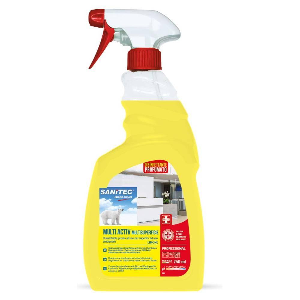 Detergente igenizzante multiuso sanitec sgrassatore ultra, limone, spray 750 ml