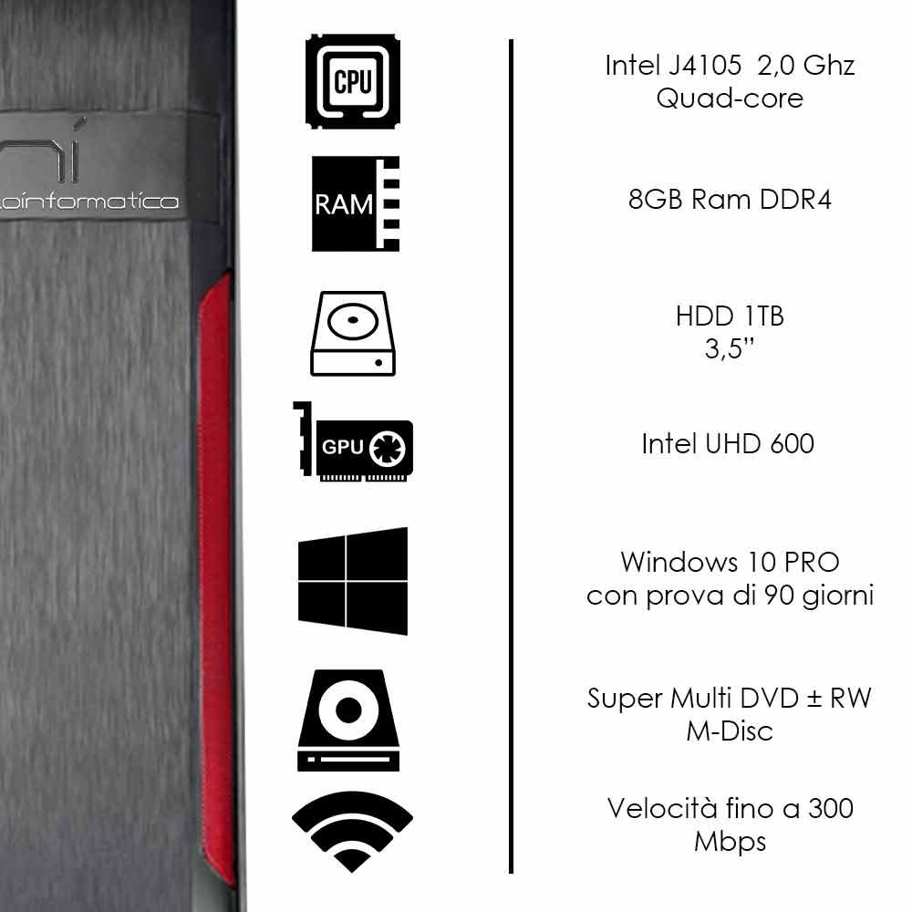 Pc fisso 3 monitor intel quad-core 8gb ram 1 tb hard disk windows 10 wifi hdmi foto 3