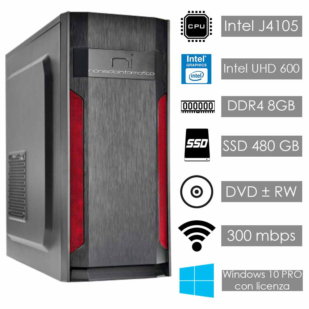 Pc desktop 3 monitor intel quad-core 8gb ram 480 gb ssd windows 10 licenziato