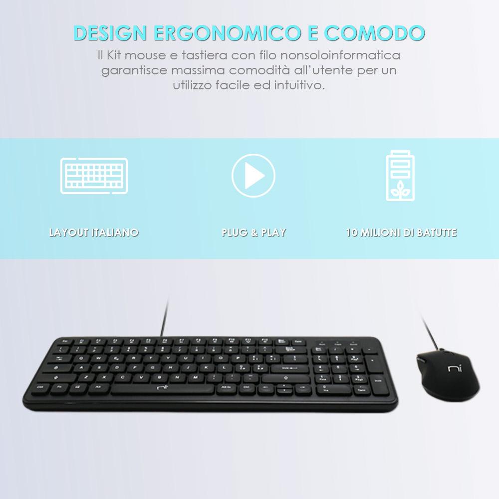 Tastiera chocolate e mouse con filo per pc desktop windows mac foto 3