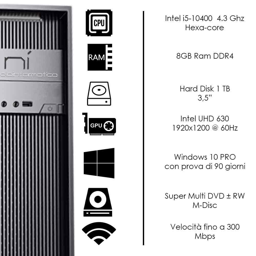 Pc Desktop Intel i5-10400 hexa core Windows 10 8gb ram hard disk 1tb WiFi HDMI foto 3