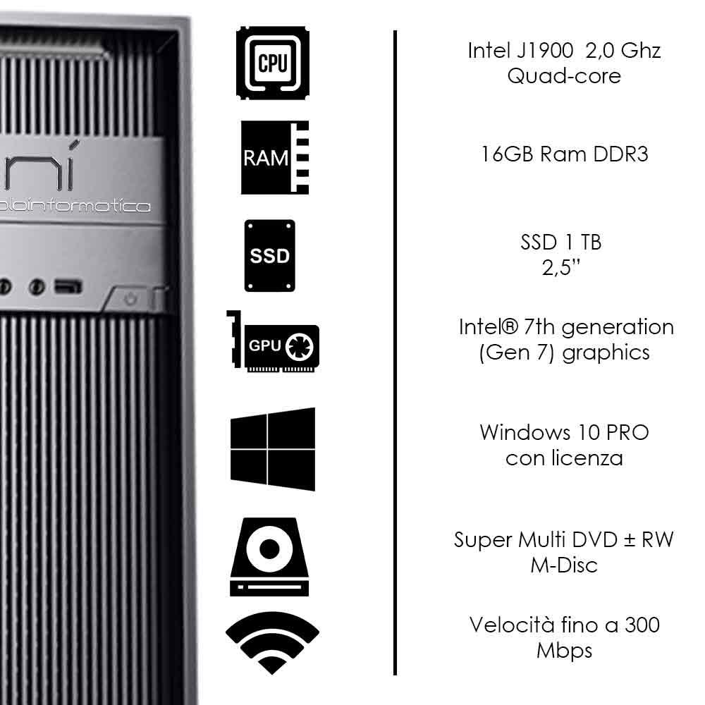 Pc Desktop Intel quad core 16gb ram ssd 1tb Windows 10 con licenza WiFi HDMI foto 3