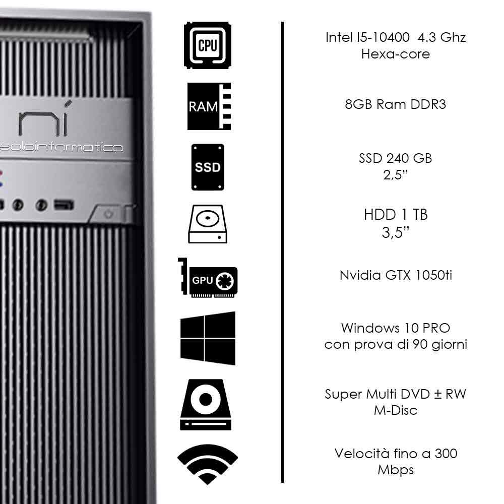Pc fisso intel i5-10400 8gb ram hdd 1tb ssd 240gb nvidia gtx 1050ti WiFi HDMI foto 3