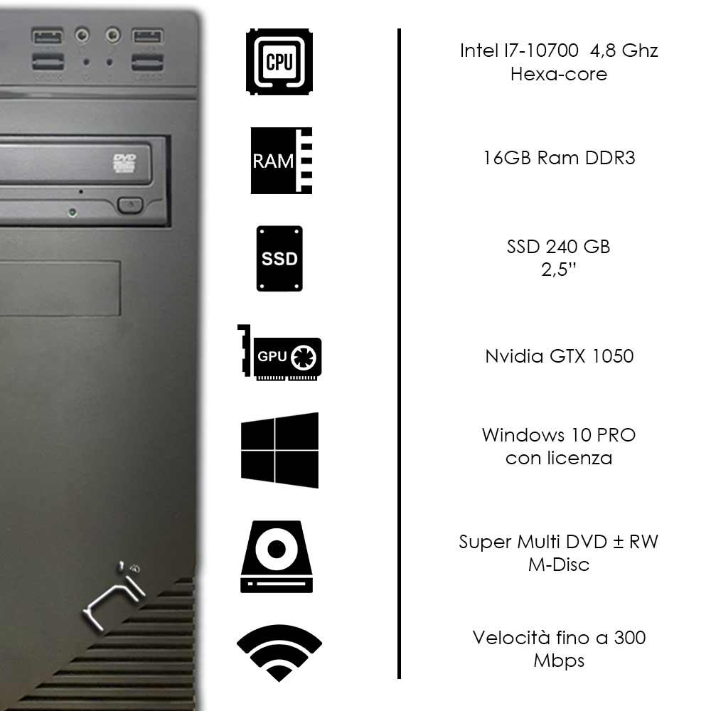 Pc fisso Windows 10 con licenza intel i7-10700 16gb ram ssd 240gb gpu gtx-1050 foto 3