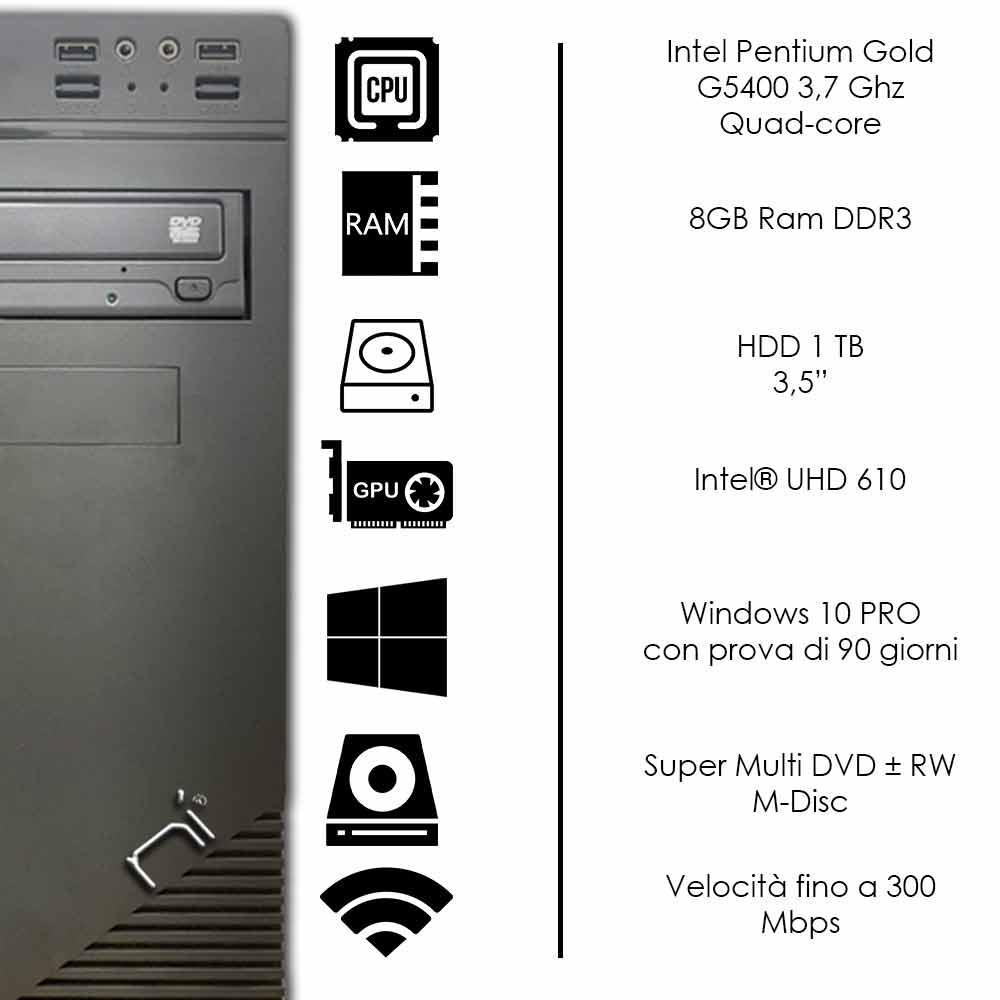 Pc fisso Windows 10 Intel dual-core G5400 8gb ram hard disk 1TB WiFi HDMI foto 3