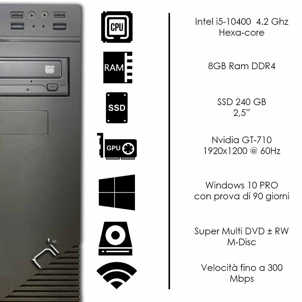 Pc Thunder Windows 10 (trial) Intel i5-10400 8gb ram ssd 240gb nvidia gt710 WiFi foto 3