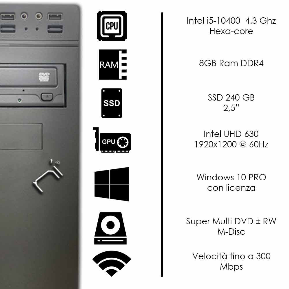 Thunder Pc desktop intel I5-10400 ram 8GB ssd 240gb windows 10 pro licenziato foto 3