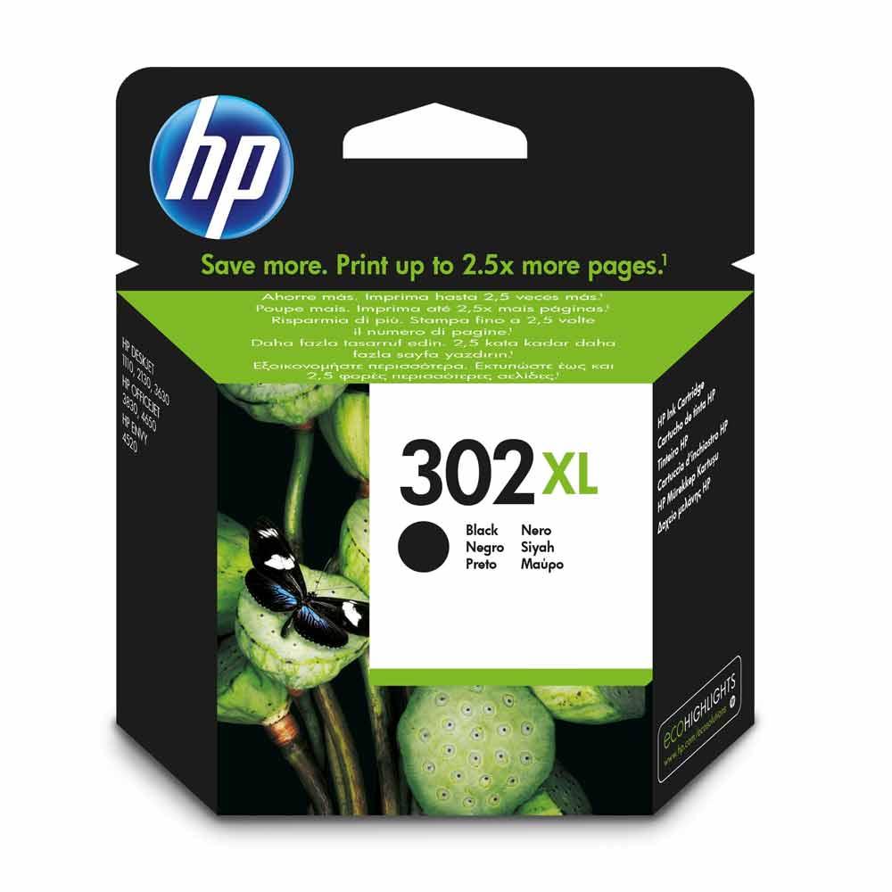 Cartuccia originale HP 302XL colore nero ad alte prestazioni di stampa F6U68AE
