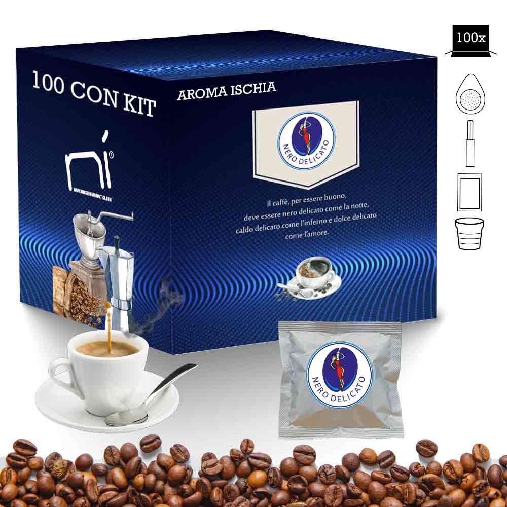 Kit caffè cialde aroma ischia con kit 100 pz