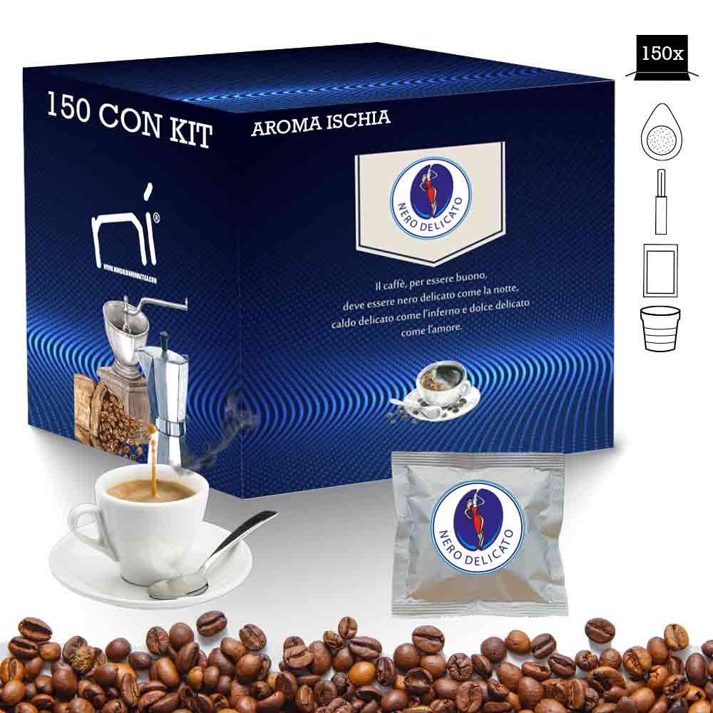 Caff� in cialde kit aroma ischia con kit 150 pz