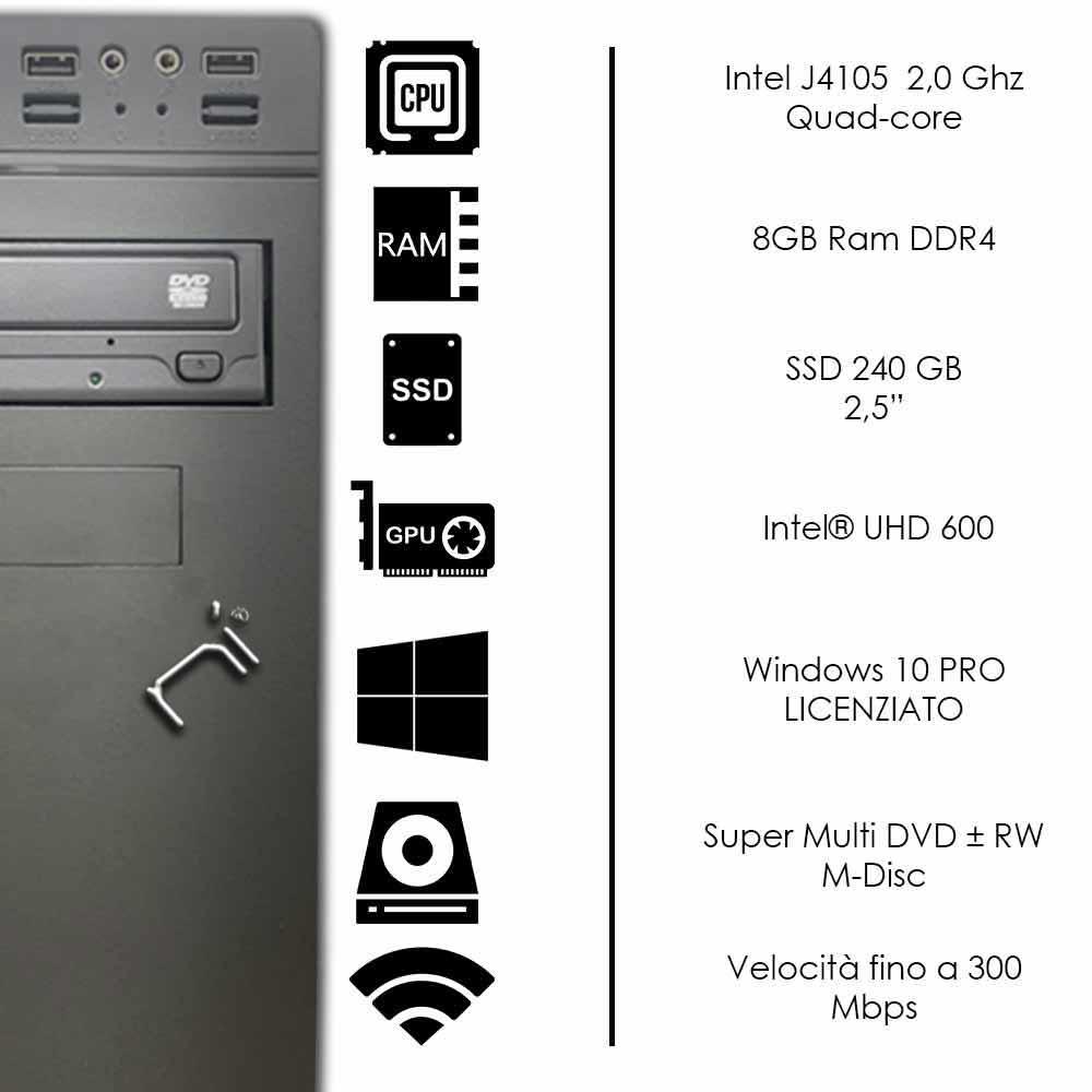 Pc desktop 3 monitor intel quad-core 8gb ram 240 gb ssd windows 10 licenziato foto 3