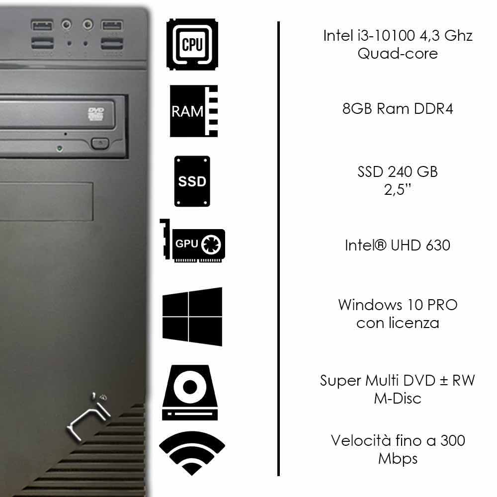 Pc Desktop Intel i3-10100 8gb ram ddr4 ssd 240gb Windows 10 licenziato WiFi HDMI foto 3