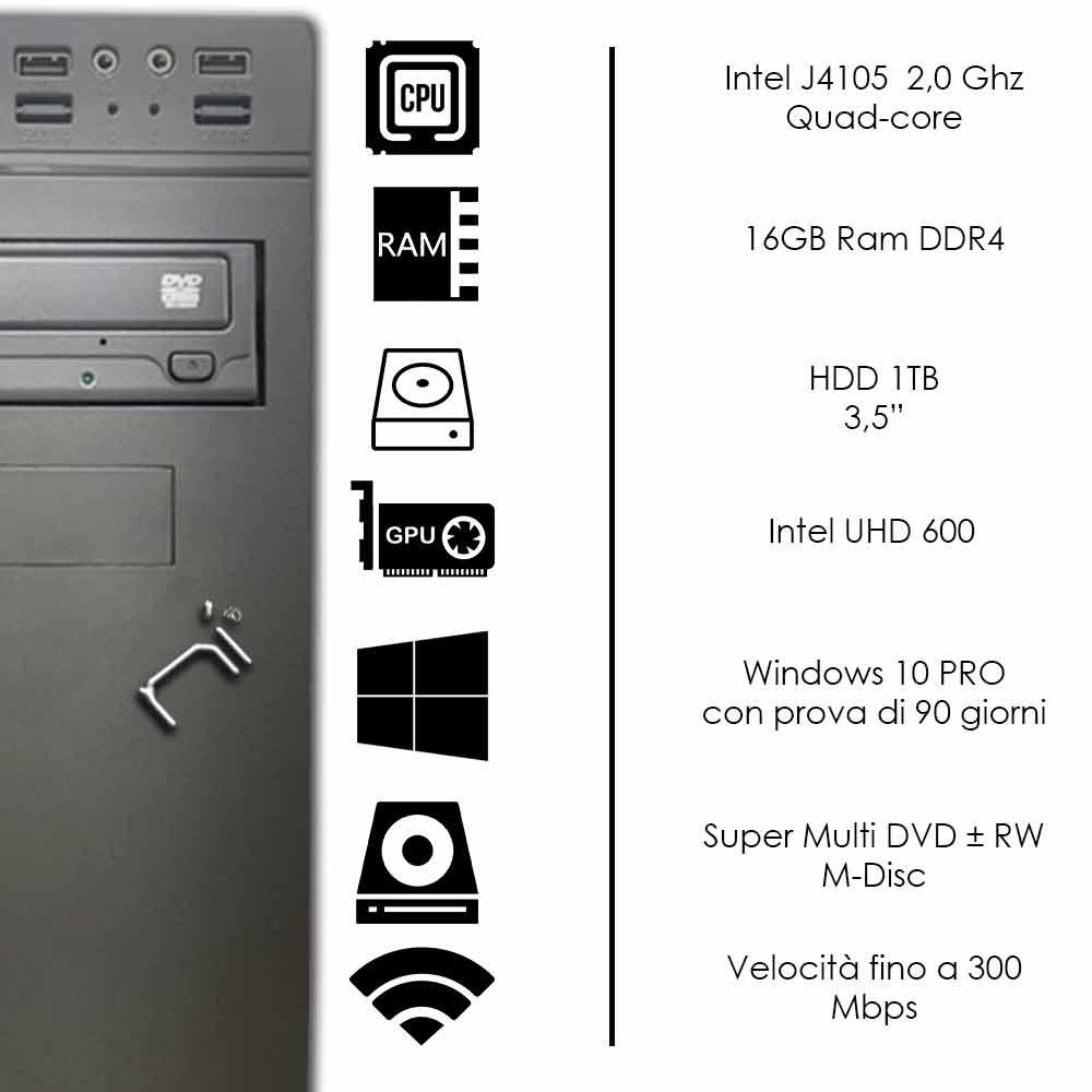 Pc fisso 3 monitor intel quad-core 16gb ram 1 tb hard disk windows 10 wifi hdmi foto 3