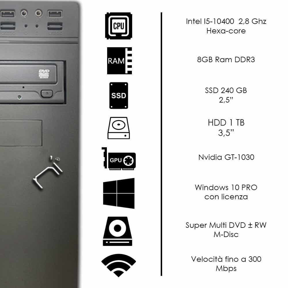 Pc fisso i5-10400 video dedicata nvidia gt 1030 8gb ram hdd 1tb ssd 240gb Win 10 foto 3