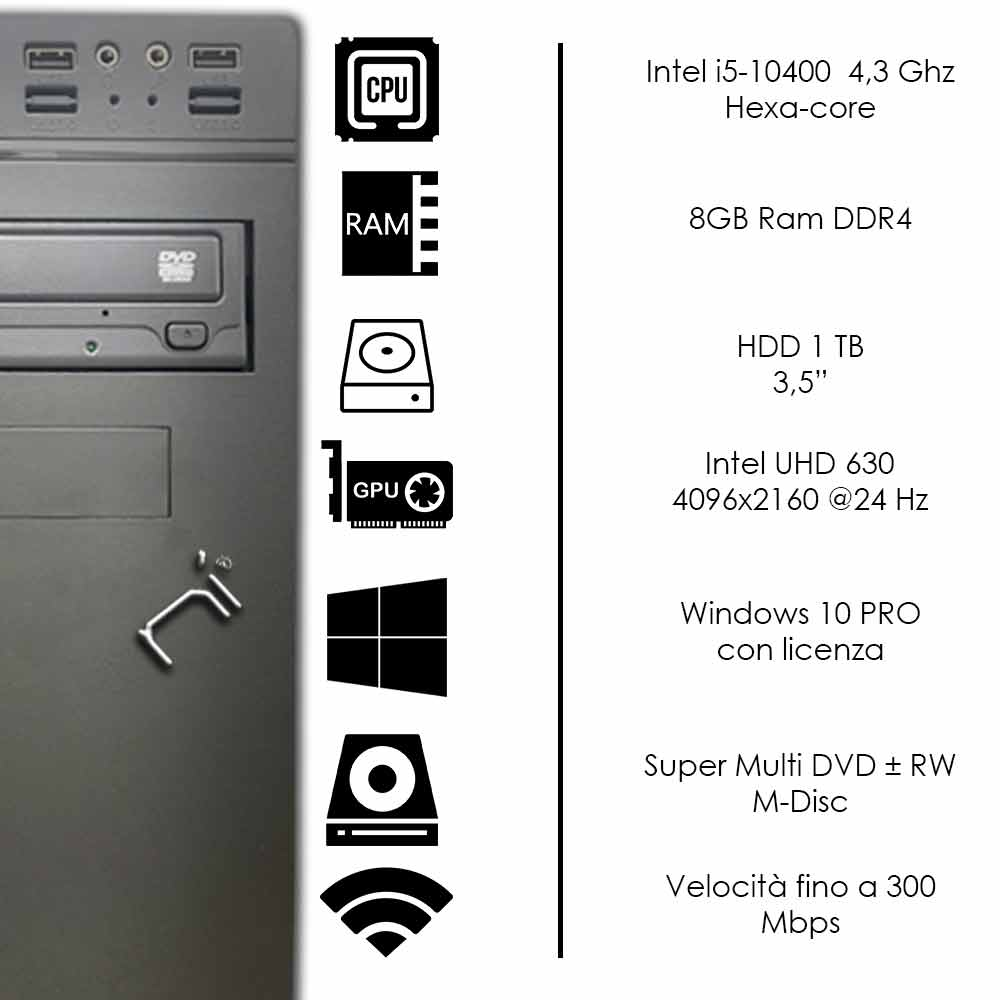 Pc fisso Windows 10 con licenza intel i5-10400 hexa core 8gb ram hard disk 1tb foto 3