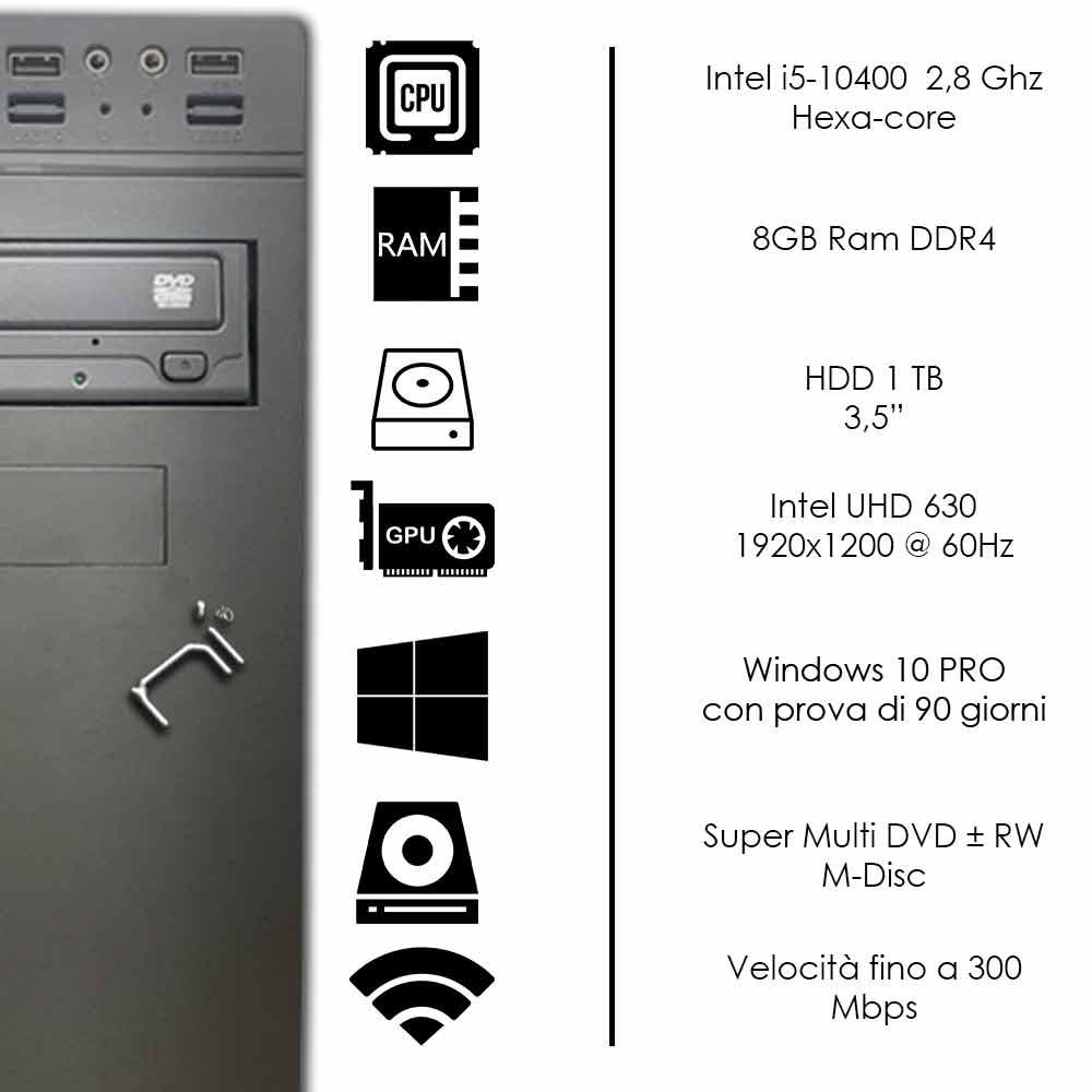 Pc fisso Windows 10 Intel six-core i5-10400 8gb ram DDR4 Hard Disk 1TB Wifi HDMI foto 3