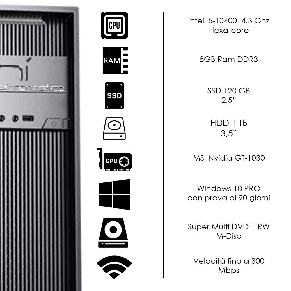 Pc gaming Intel i5 10400 nvidia gt-1030 8gb ram ssd 240 gb hdd 1tb assemblato foto 3