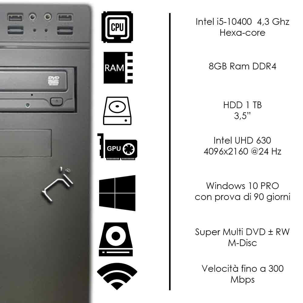 Pulsar Pc fisso Veloce Intel quad core 16gb ram ssd 480gb WiFi HDMI Windows 10 foto 3