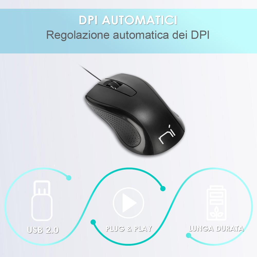 Mouse con filo usb ergonomico per computer e notebook pc e mac soft touch foto 3