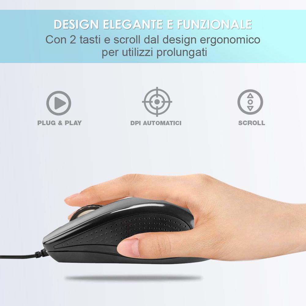 Mouse con filo usb ergonomico per computer e notebook pc e mac soft touch foto 4