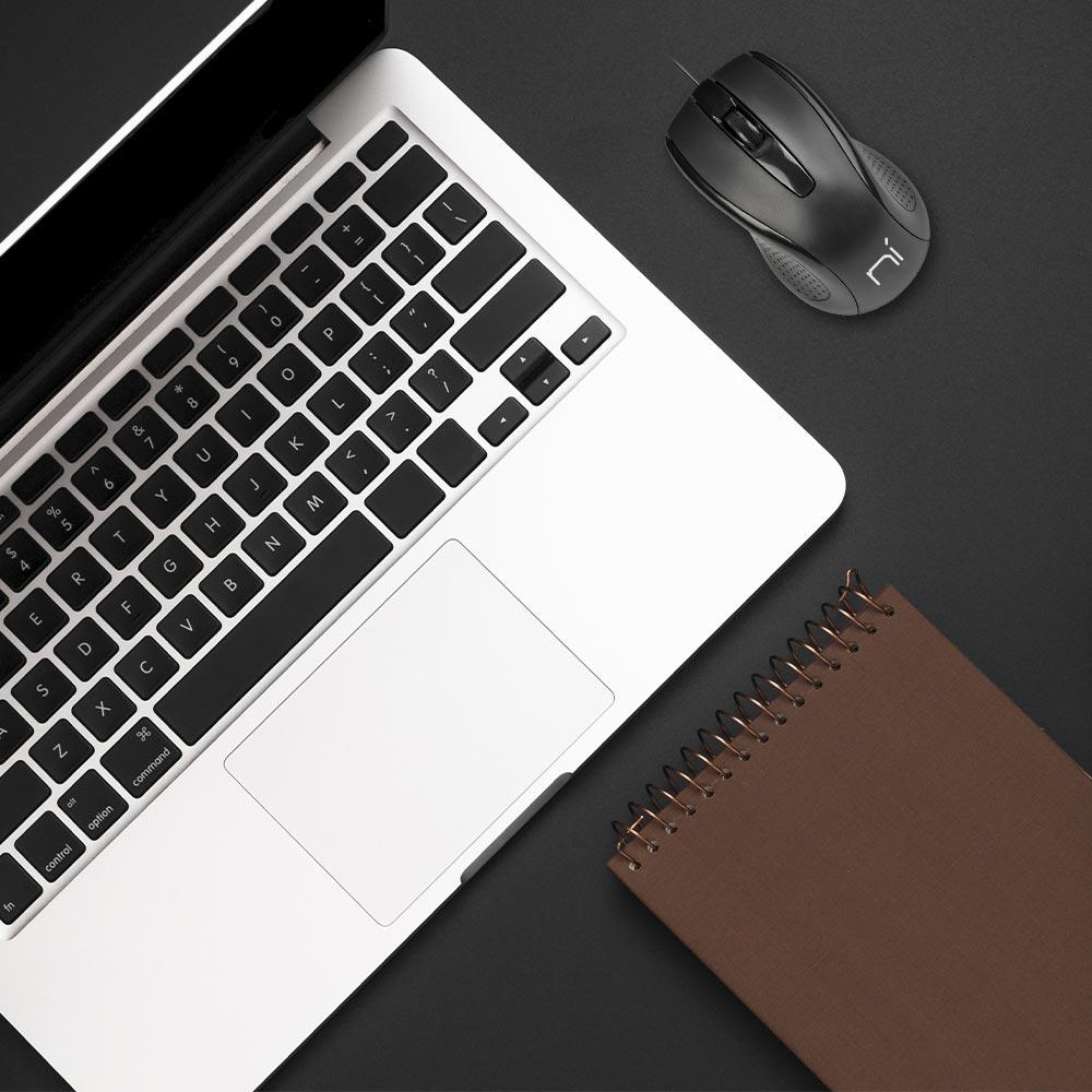 Mouse con filo usb ergonomico per computer e notebook pc e mac soft touch foto 6