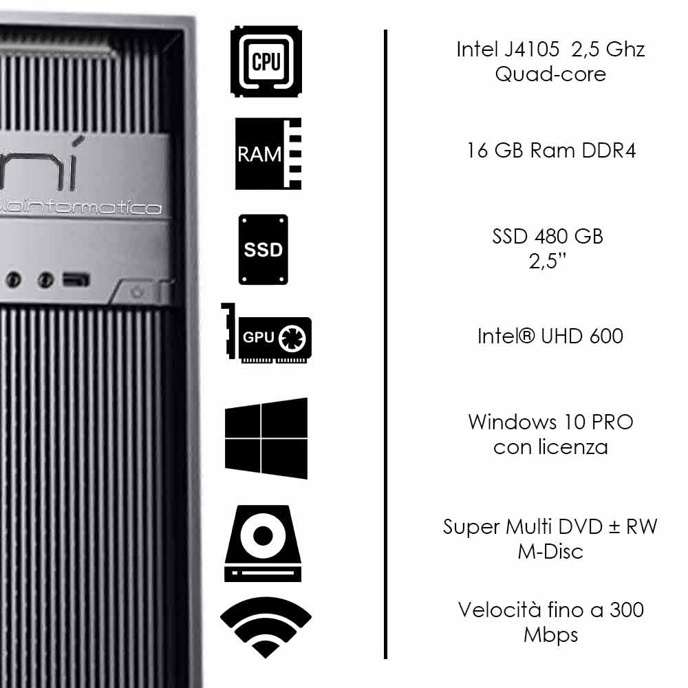 Pc Fisso Windows 10 licenziato Intel quad core 16gb ram DDR4 ssd 480gb WiFi HDMI foto 3