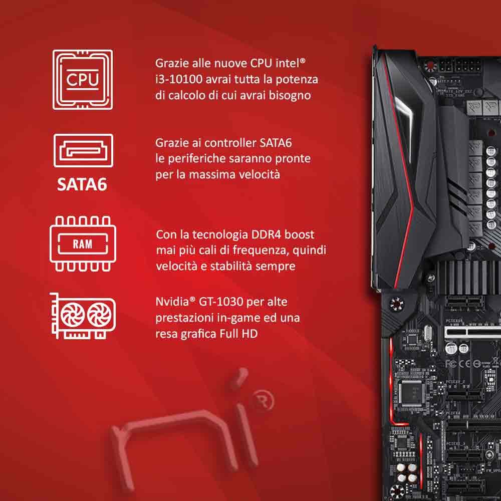 Pc gaming i3 10100 Nvidia gt-1030 da 2gb ram 8gb Ssd 240 case gaming foto 3