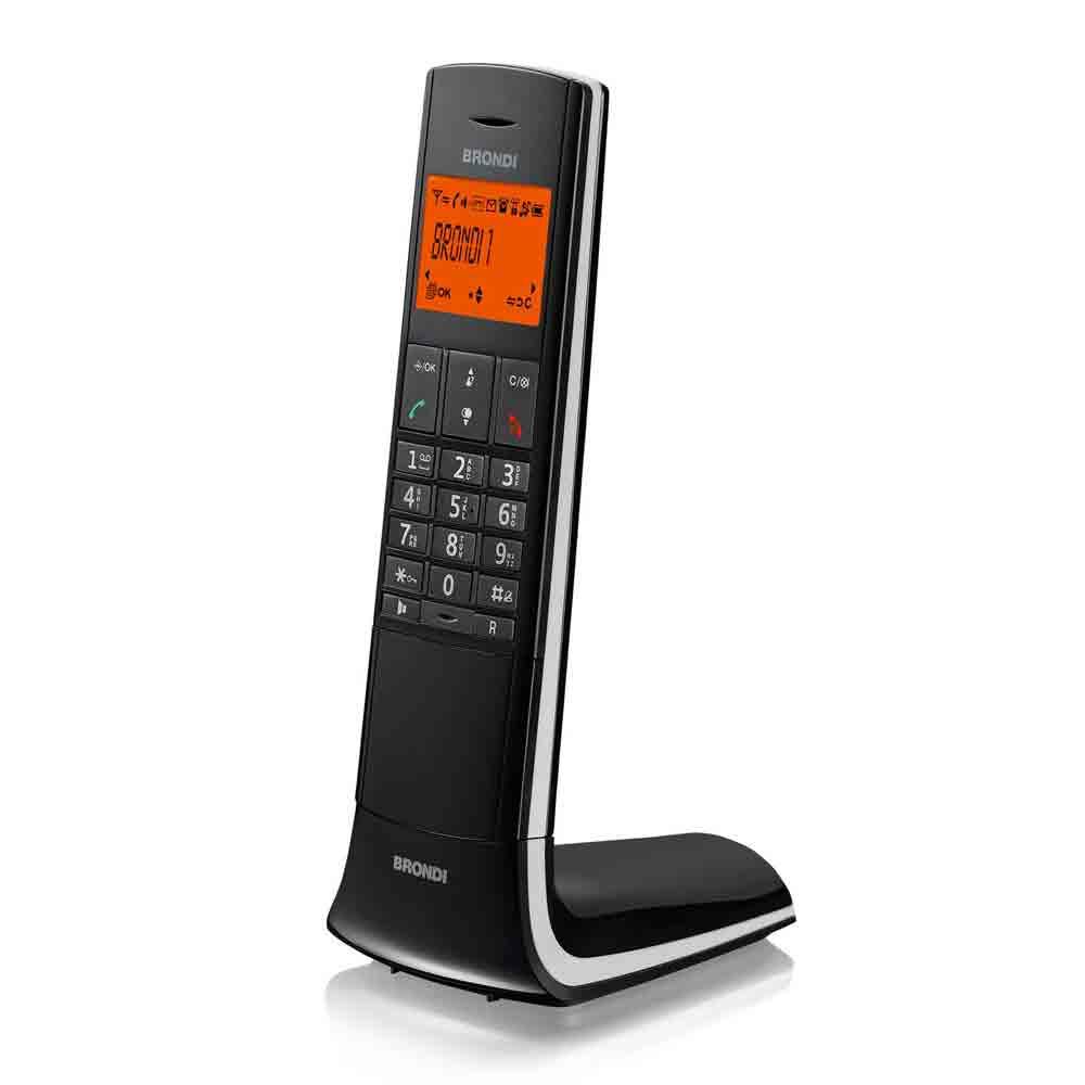 Telefono cordless lemure nero dotato di vivavoce sveglia 20 memorie 10 suonerie.