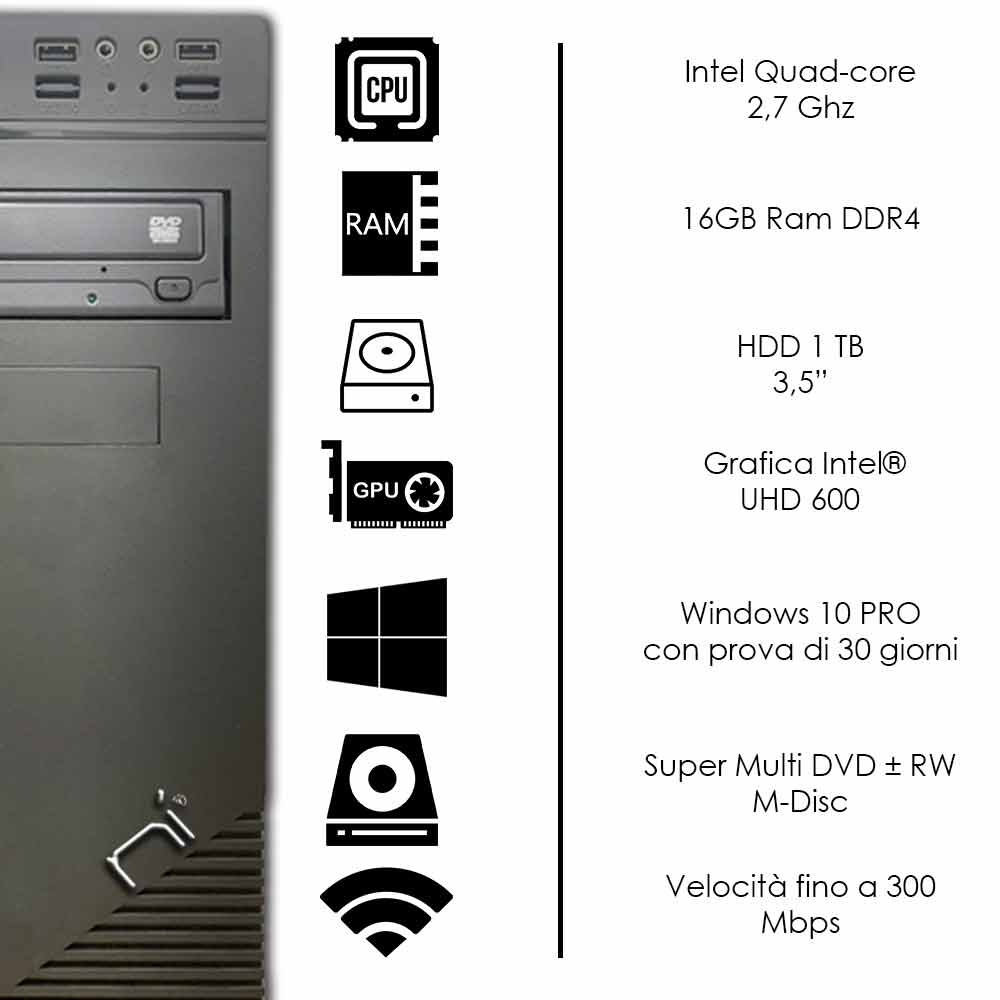 Pc assemblato Windows 10 Intel quad core 16gb ram DDR4 hard disk 1tb WiFi HDMI foto 3
