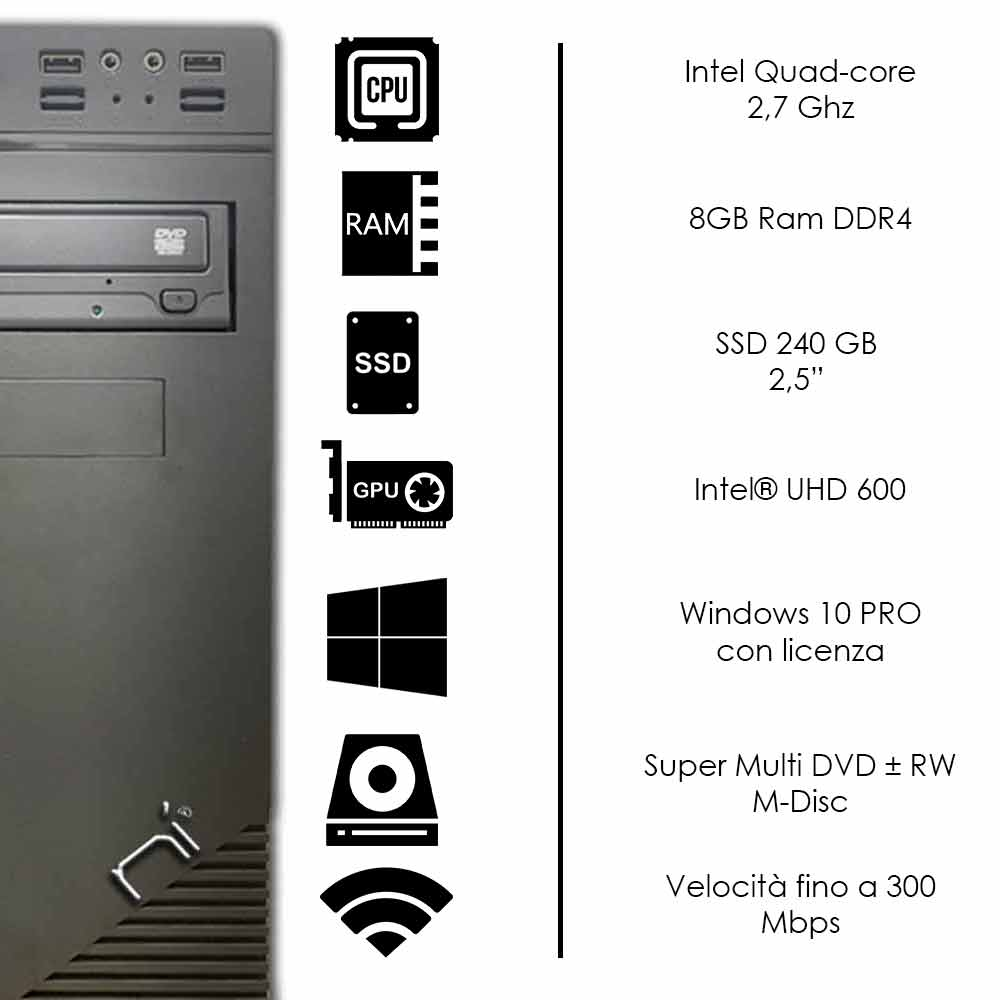 Pc Desktop Intel quad core 16gb ram DDR4 ssd 240gb Windows 10 con licenza WiFi foto 3