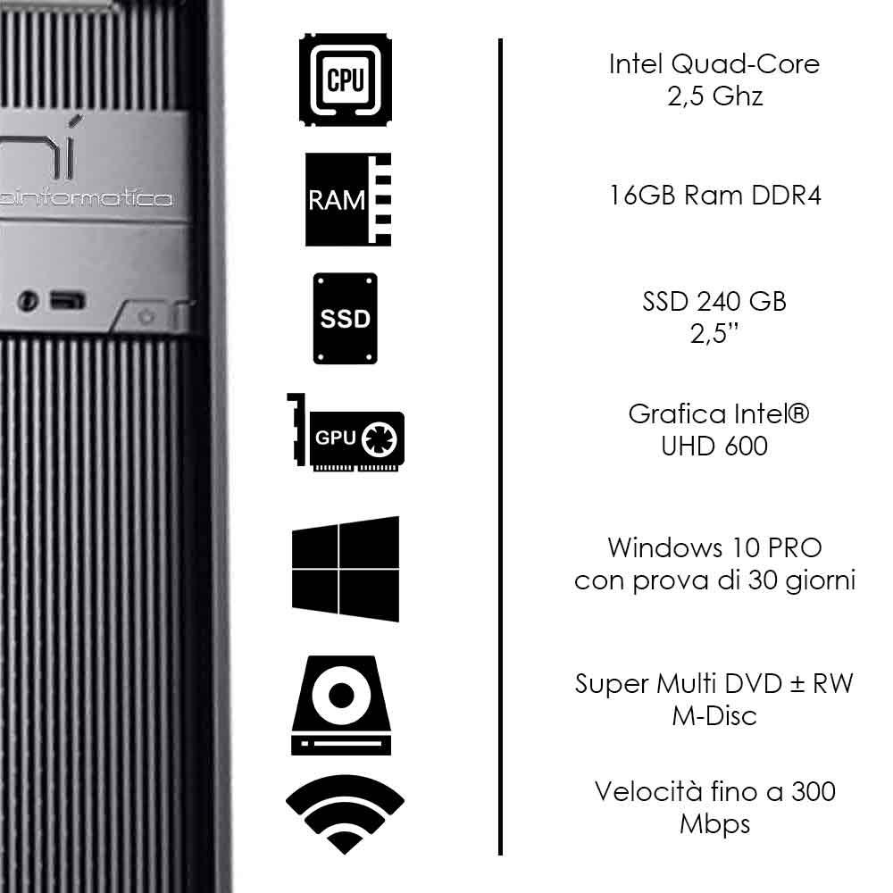 Pulsar Pc fisso Veloce Intel quad core 16gb ram ssd 240gb WiFi HDMI Windows 10 foto 3