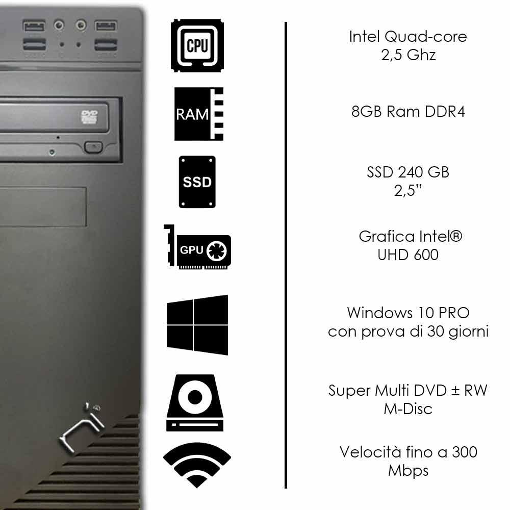 Pulsar Pc Windows 10 Intel quad core 8gb ram DDR4 ssd 240gb WiFi HDMI foto 3